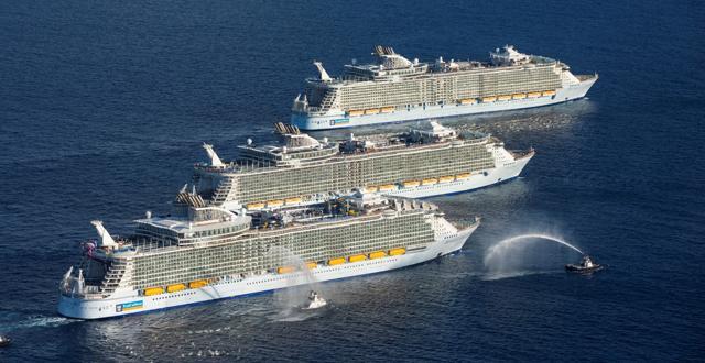 מפגש שלושת האוניות הגדולות בעולם (צילום: Royal Caribbean®)