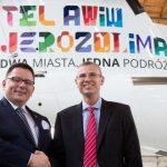 מטוס לוט ממותג ביעדי התיירות תל אביב וירושלים