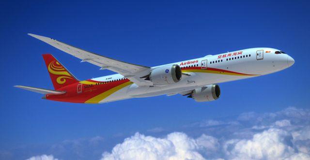 """מטוס בואינג 787-9 של חברת התעופה היינאן איירליינס (צילום: יח\""""צ)"""
