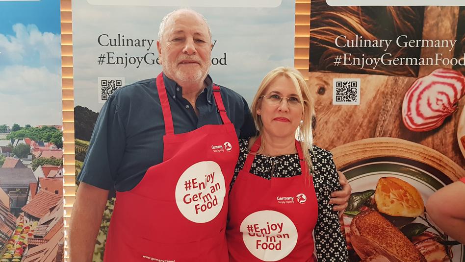 גולדי מולר וגדעון טהלר באירוע של לשכת התיירות של גרמניה בישראל. צילום עוזי בכר