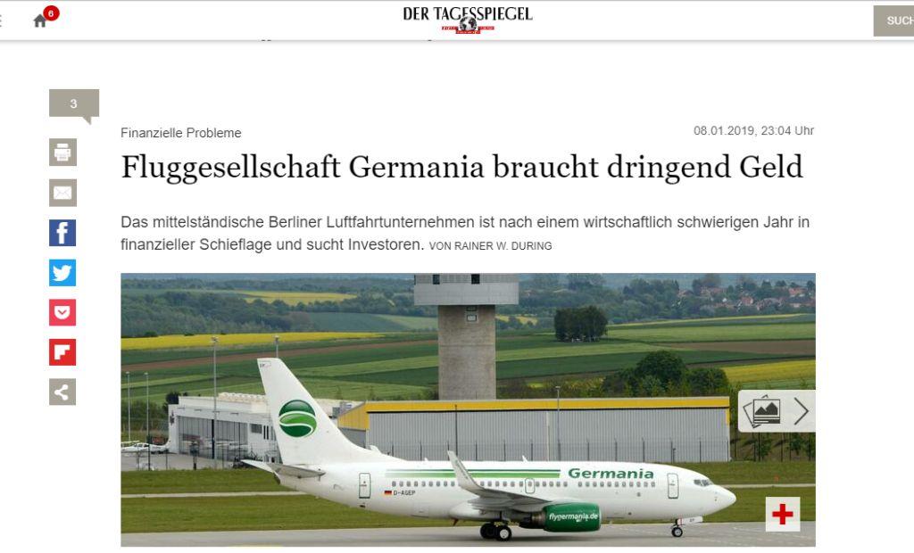 הידיעה בעיתון הגרמני: חברת התעופה זקוקה בדחיפות לכסף ומחפשת משקיעים