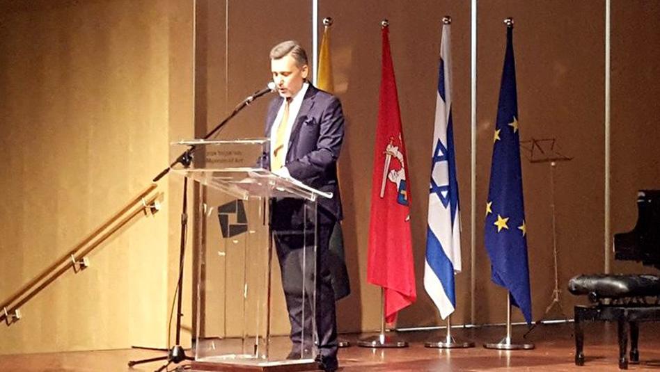 שגריר ליטא בישראל, אדמינס בגדונס, מברך ביום העצמאות של ליטא. צילום: Adam Kremer - diplomacy