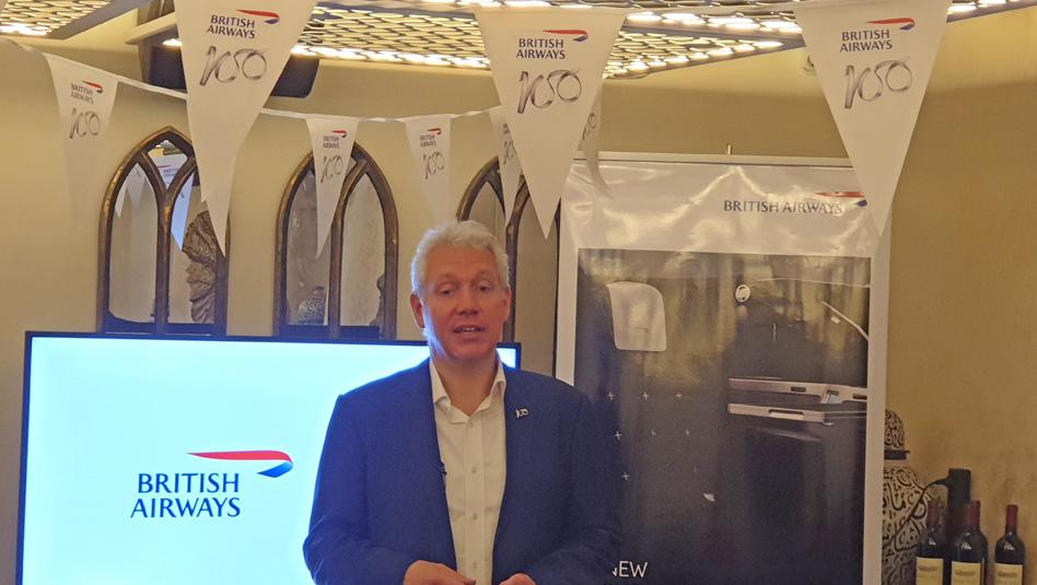 אנדרו ברם- המנהל המסחרי העולמי של בריטיש איירווייס במפגש עיתונאים בתל אביב. צילום עוזי בכר