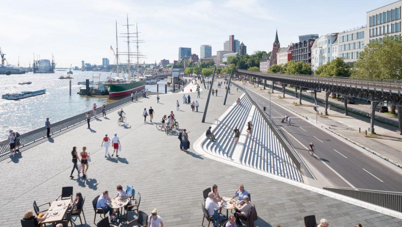 בהמבורג בחרו לתת מגע אדריכלי למחסום מפני שיטפונות נהר האלבה
