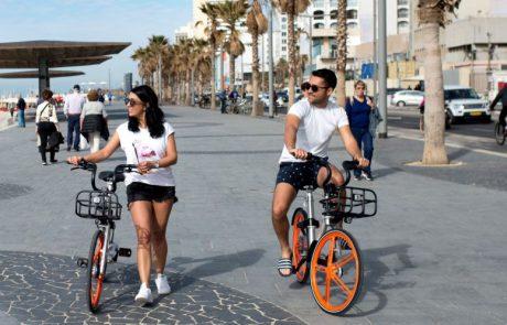 """למעלה מ-100,000 מדוושים רשומים לשירות האופניים השיתופיים בת""""א"""