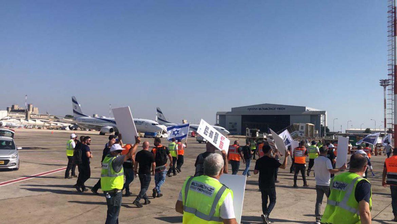 """עובדי אל על מחו מול מטוס ראש הממשלה בנתב""""ג"""